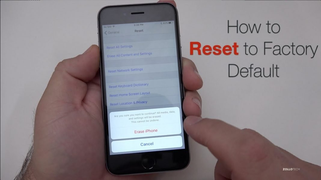 how to factory reset iphone 7 plus without password